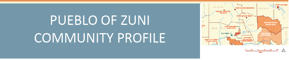 Pueblo of Zuni profile: with their territories highlighted in North East Arizona