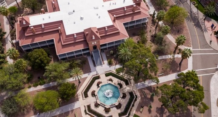 aerial photo of old main